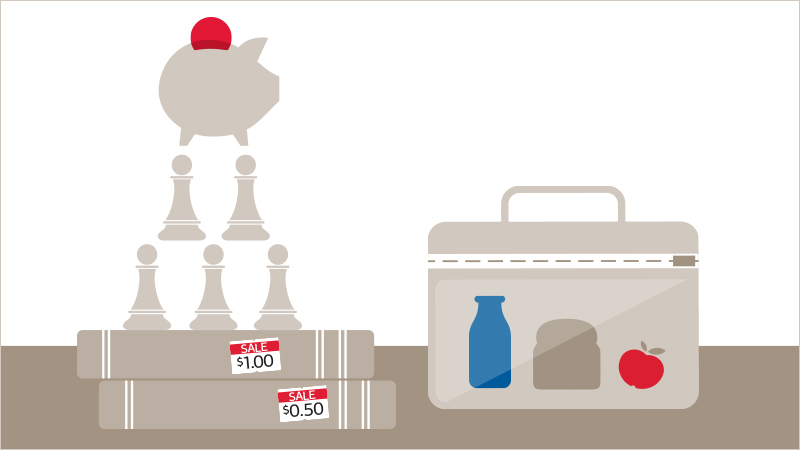 Chess pawns with books and lunchbox to signify ways of earning and saving more money