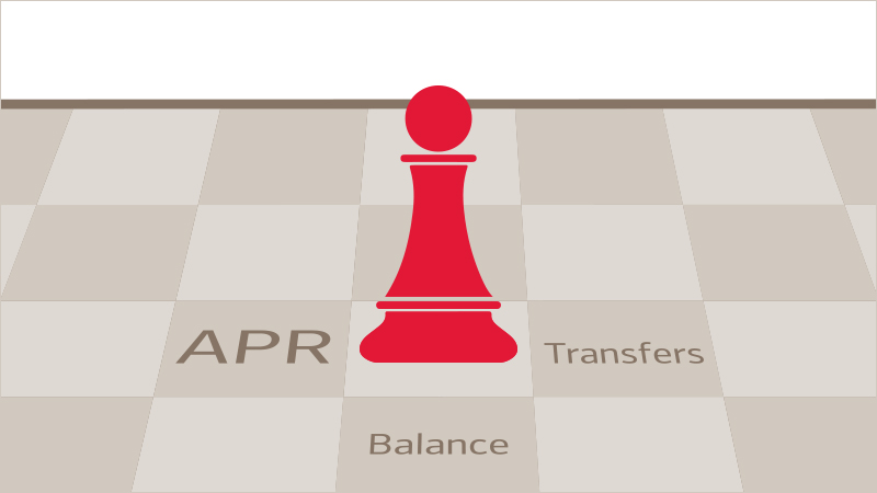 Pawn on a chessboard that has APR and balance transfers, key terms for debt repayment, on spaces