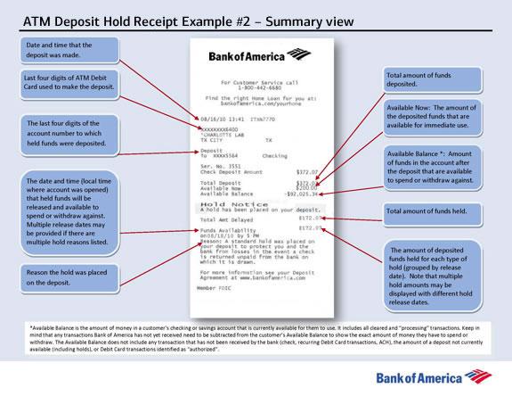 Ejemplo de la información del recibo de depósito en una sucursal