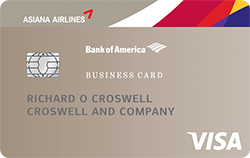 Asiana visa business credit card from bank of america earn 10000 bonus miles after your first purchase with an asiana visa business card reheart Images
